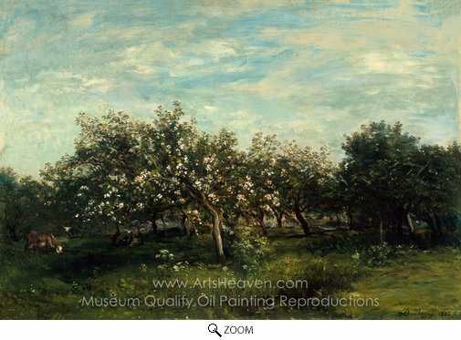 Charles Daubigny, Apple Blossoms oil painting reproduction