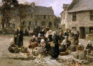 Apple Market, Landerneau, Brittany painting reproduction, Leon Augustin Lhermitte