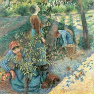 Apple Picking painting reproduction, Camille Pissarro