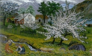 Apple Trees in Bloom painting reproduction, Nikolai Astrup