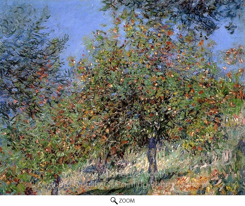 Claude Monet, Apple Trees on the Chantemesle Hill oil painting reproduction