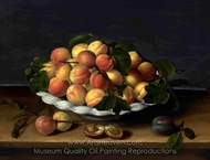 Apricots in a Ceramic Bowl, with Plums on a Stone Ledge painting reproduction, Louise Moillon