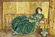 April (The Green Gown) painting reproduction, Childe Hassam