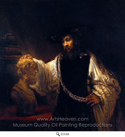 Rembrandt Van Rijn, Aristotle with a Bust of Homer oil painting reproduction