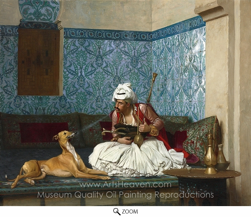 Jean-Leon Gerome, Arnaut Blowing Smoke at the Nose of His Dog oil painting reproduction