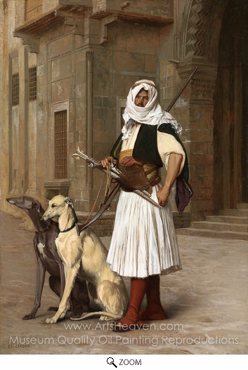 Jean-Leon Gerome, Arnaut Whippets with Two Dogs oil painting reproduction