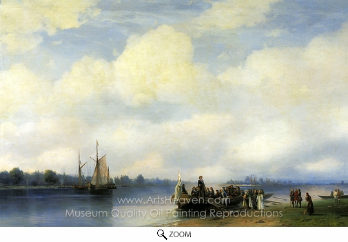 Ivan Aivazovskiy, Arrival of Peter the First to Neva oil painting reproduction