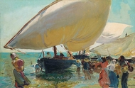 Arrival of the Boats painting reproduction, Joaquin Sorolla