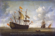 Arrival of the English Flagship Royal Charles painting reproduction, Jeronymus Van Diest