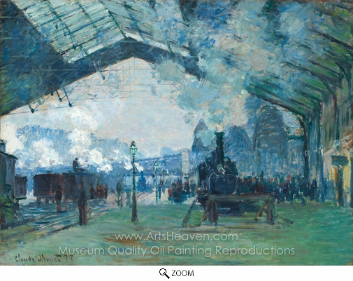Claude Monet, Arrival of the Normandy Train, Gare Saint-Lazare oil painting reproduction