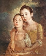 Artist's Daughters with a Cat painting reproduction, Thomas Gainsborough