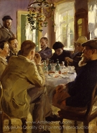 Artists Luncheon at Brondum's Hotel painting reproduction, Peder Severin Kroyer