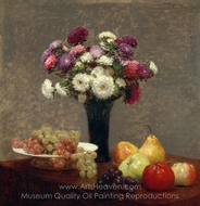 Asters and Fruit on a Table painting reproduction, Henri Fantin-Latour