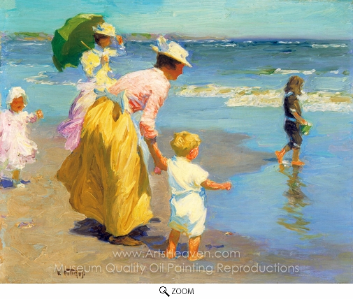 Edward Henry Potthast, At the Beach oil painting reproduction