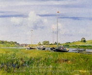 At the Boat Landing painting reproduction, William Merritt Chase