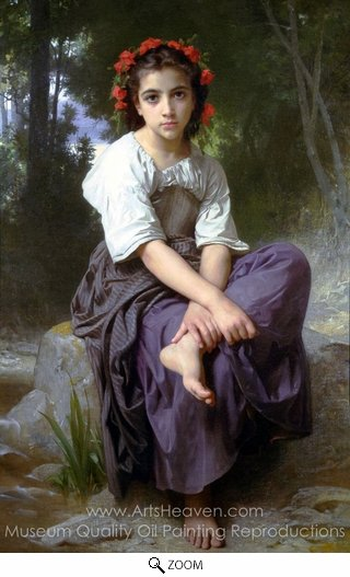 William A. Bouguereau, At the Edge of the Brook (Au Bord du Ruisseau) oil painting reproduction