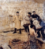 At the Foundry painting reproduction, Jean-Francois Raffaelli