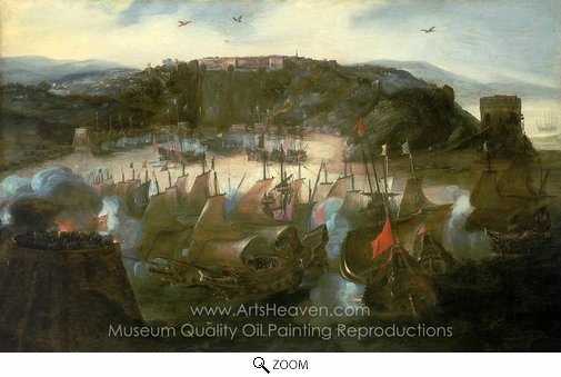 Andries Van Eertvelt, Attack on San Salvador oil painting reproduction