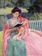 Auguste Reading to Her Daughter painting reproduction, Mary Cassatt