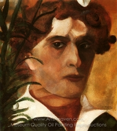 Autoportrait au col Blanc painting reproduction, Marc Chagall (inspired by)