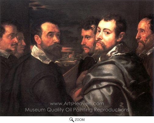 Peter Paul Rubens, Autoportrait avec ses Amis a Mantoue oil painting reproduction