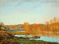 Autumn, Banks of the Seine Near Bougival painting reproduction, Alfred Sisley