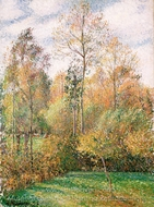 Autumn, Poplars, Eragny painting reproduction, Camille Pissarro