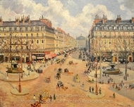 Avenue de l'Opera, Morning Sunshine painting reproduction, Camille Pissarro