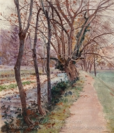 Avenue of Trees by a Stream painting reproduction, Theodor Von Hormann