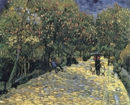 Avenue with Flowering Chestnut Trees painting reproduction, Vincent Van Gogh