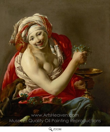 Hendrick Ter Brugghen, Bacchante with an Ape oil painting reproduction