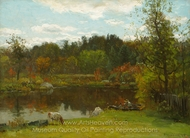 Bailing His Rowboat painting reproduction, John Joseph Enneking