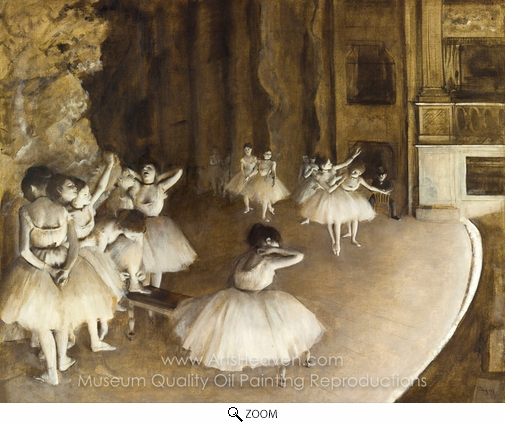Edgar Degas, Ballet Rehearsal on Stage oil painting reproduction