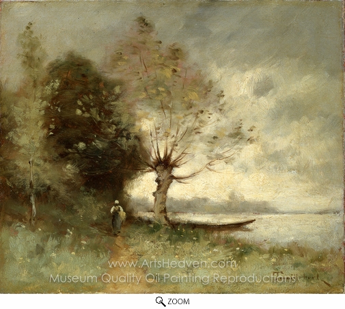Paul Desire Trouillebert, Bank of the Loire Near Chouze oil painting reproduction