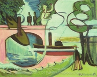Banks of the Landwehrkanal in the Morning painting reproduction, Ernst Ludwig Kirchner
