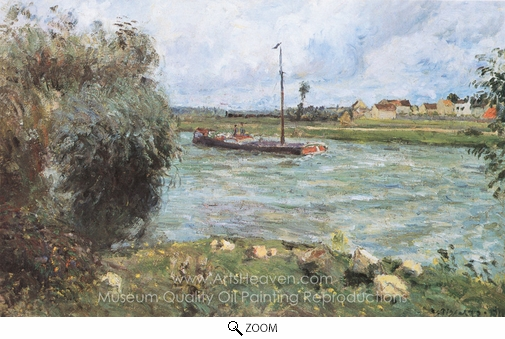 Camille Pissarro, Banks of the Oise, the Countryside Near Pontoise oil painting reproduction