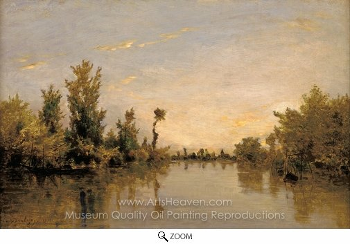 Charles Daubigny, Banks of the Seine oil painting reproduction