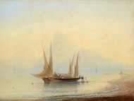 Barge at Sea Shore painting reproduction, Ivan Aivazovskiy