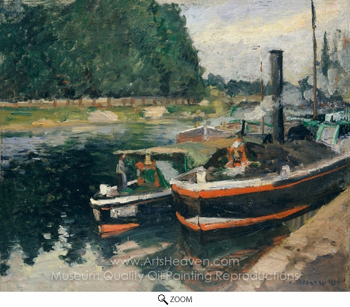 Camille Pissarro, Barges at Pontoise oil painting reproduction