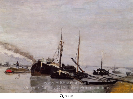 Armand Guillaumin, Barges on the Seine at Bercy oil painting reproduction