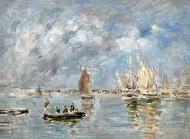 Barques et Estacade painting reproduction, Eugene-Louis Boudin