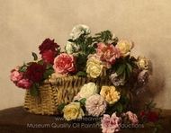 Basket of Roses painting reproduction, Henri Fantin-Latour