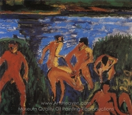 Bather in the Reeds painting reproduction, Erich Heckel