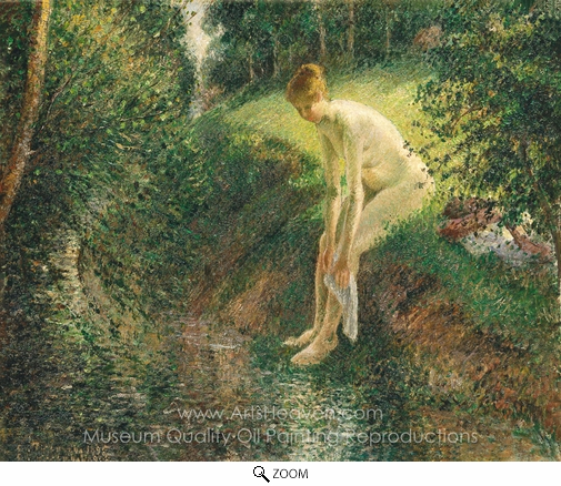 Camille Pissarro, Bather in the Woods oil painting reproduction