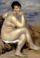 Bather with a Rock painting reproduction, Pierre-Auguste Renoir