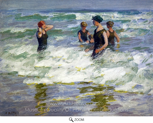 Edward Henry Potthast, Bathers in the Surf oil painting reproduction
