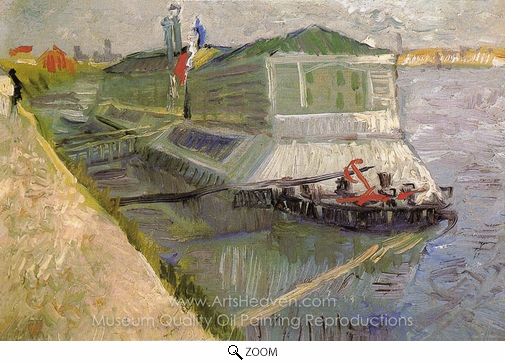 Vincent Van Gogh, Bathing Boat on the Seine at Asnieres oil painting reproduction