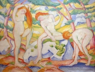 Bathing Girls painting reproduction, Franz Marc