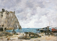 Beach at Etretat painting reproduction, Eugene-Louis Boudin