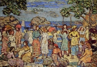 Beach at Gloucester painting reproduction, Maurice Prendergast